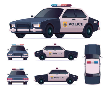 Police car set. Patrol official vehicle, cop automobile chase and pursuit criminals. View front, rear, side, top. Illustration