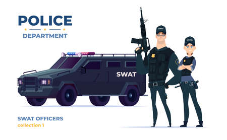Cartoon swat officers man and woman team in armor. Safety officers with swat car. Guardians of law and order.