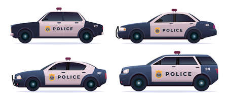 Cartoon modern police car collection. Vector object isolated on white, side view. Police sedan and jeep car set Banque d'images - 150511874