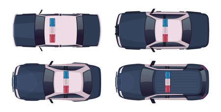 Cartoon modern police car collection. Vector object on white, view from above. Police sedan and jeep car set