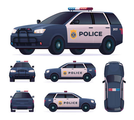 Police car set. Patrol official vehicle, cop automobile chase and pursuit criminals. View front, rear, side, top. Vettoriali