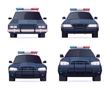 Cartoon modern police car collection. Vector object isolated on white, front view. Police sedan and jeep car set