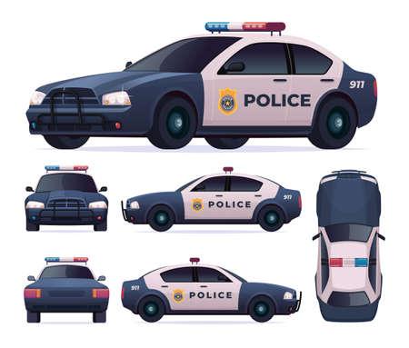 Police patrol car set. View front, rear, side, top. Illustration