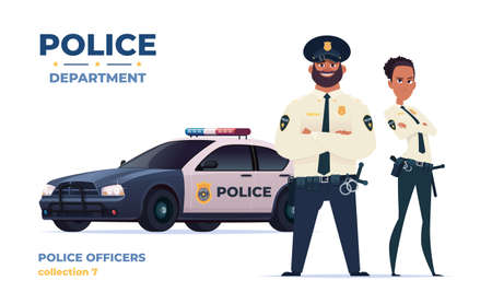 Cartoon police officers man and woman team with police car.