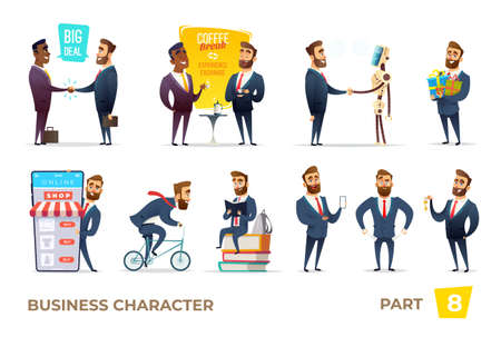 Bearded charming business men in different situations.