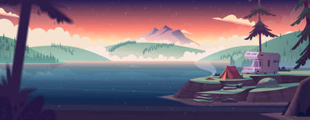 Summer night landscape with mountain lake view and camping . Summer night camp on river shore. Modern cartoon vector illustration