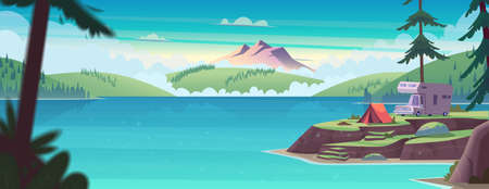Summer landscape with mountain lake view and camping . Summer camp on river shore. Modern cartoon vector illustration