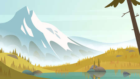 Great snow mountain by the lake shore on a fresh calm clean autumn day. Cartoon modern style landscape Illusztráció