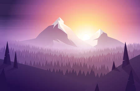 Simple morning mountain landscape in modern colorful low poly style Illusztráció