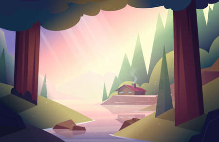 Wooden house or hut in the woods by the river. Forest hut. Vector cartoon summer landscape Illusztráció