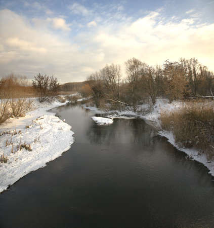 Winter landscape with the river and wood Stock Photo - 9067772