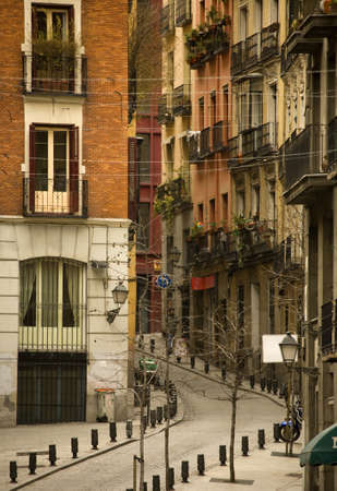 The Madrid street, old city, Spain, Europa Stok Fotoğraf