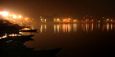 Night on the river Ganges, a landscape, a city of Varanasi, India. Stock Photo - 9219115
