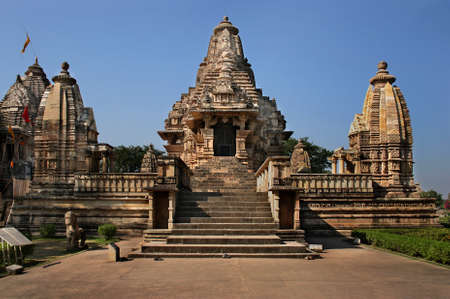 Khajuraho, a large complex of temples of the North Indian type.