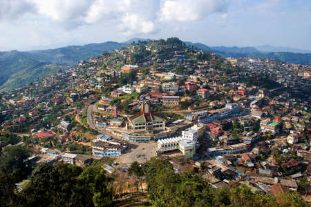View of village Kohima from height of the birds flight, state of Nagaland, India