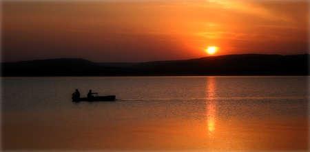 Sunset over the river Dnestr, Ukraine. Stock Photo - 9374280