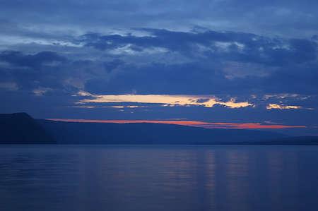 Sunset over the river Dnestr, Ukraine. Stock Photo - 9374279