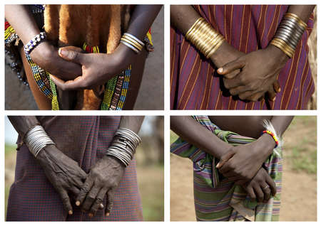 Hands of the Ethiopian women from a tribe of Desanech  Africa