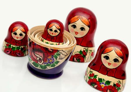 handwork: Nested doll - the Old national Russian doll of handwork