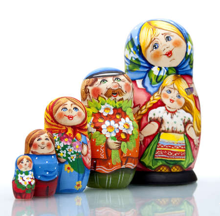 handwork: Nested doll - a Old national Russian doll of handwork. Stock Photo