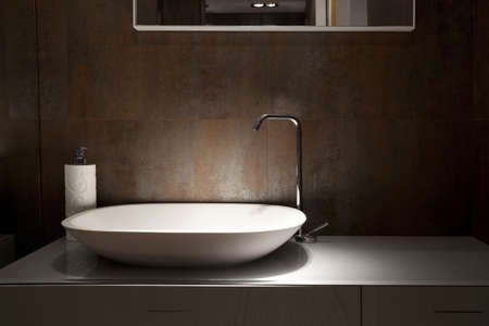 salle de bains: lavabo de conception dans une salle de bain, un fragment int�rieur Banque d'images