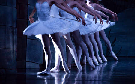 Feet of ballerinas during dance execution, body performance choreography