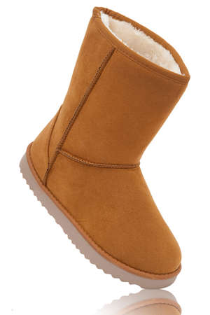 sheepskin: womens sheepskin boots isolated on white background