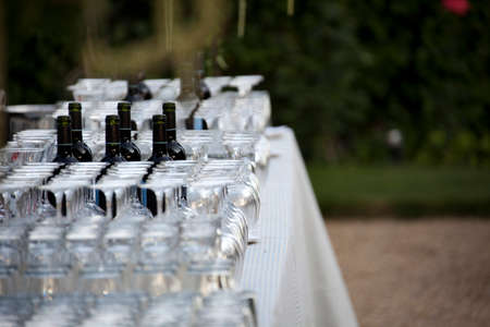 Wine Glasses on the table for events and weddings Stock Photo