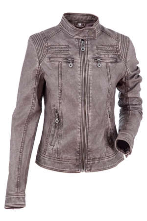 chaqueta de cuero: Chaqueta de cuero de la mujer aislado sobre un fondo blanco