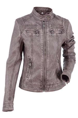 leather jacket: Woman leather jacket isolated on a white background Stock Photo