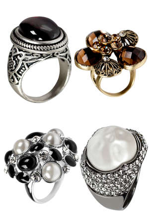 Jewelry rings isolated on the white background