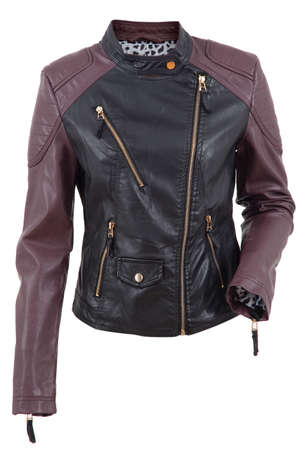 Woman leather jacket isolated on a white  Stock Photo