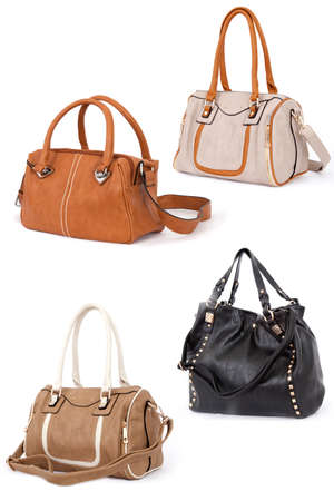 woman handle success: Woman handbag isolated on white