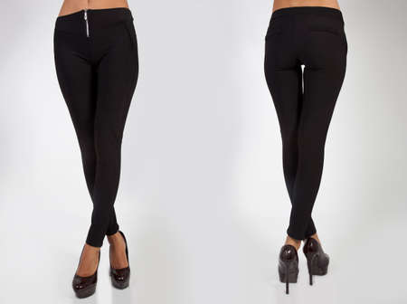 pretty women in leggings from skin on white background back and front views Stock Photo