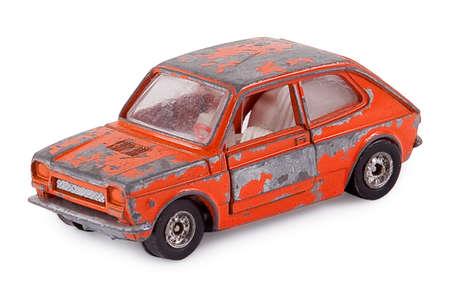 오래 된 녹슨 금속 자동차 장난감 스톡 콘텐츠