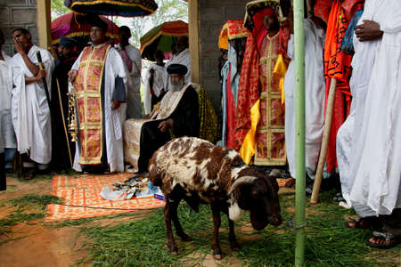 TURMI, ETHIOPIA - NOVEMBER 22, 2011:Celebration of day of Saint Mikhail in orthodox Christian church. November 22, 2011 in Turmi, Ethiopia.