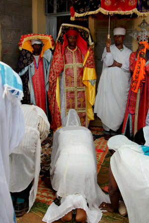 mikhail: TURMI, ETHIOPIA - NOVEMBER 22, 2011:Celebration of day of Saint Mikhail in orthodox Christian church. November 22, 2011 in Turmi, Ethiopia.
