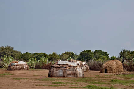 rift: SOUTH OMO - ETHIOPIA - NOVEMBER 23, 2011: Houses of people from a tribe Dasanech, a settlement fragment, in November 23, 2011 in Omo Rift Valley, Ethiopia. Editorial