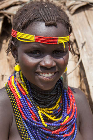 SOUTH OMO - ETHIOPIA - NOVEMBER 23, 2011: Portrait of the unidentified girl from the African tribe Dasanech, in November 23, 2011 in Omo Rift Valley, Ethiopia.