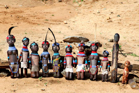 The African dolls made of a tree, Hamer tribe, Ethiopia. photo