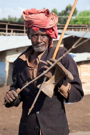 rift: SOUTH OMO - ETHIOPIA - NOVEMBER 19, 2011: Portrait of the unidentified old man from Ethiopia, in November 19, 2011 in Omo Rift Valley, Ethiopia.