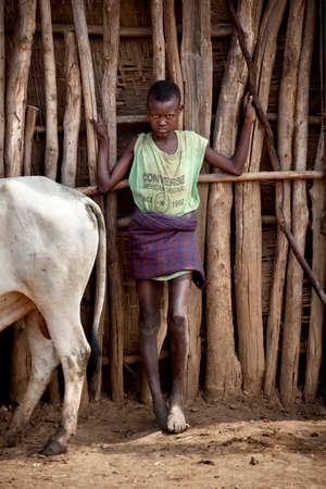 rift: SOUTH OMO - ETHIOPIA - NOVEMBER 23, 2011: Portrait of the unidentified boy from Ethiopia, in November 23, 2011 in Omo Rift Valley, Ethiopia.