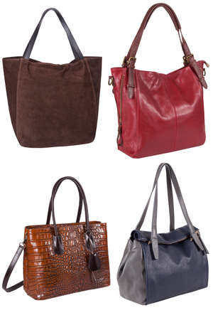 woman handle success: Woman handbag isolated on white background