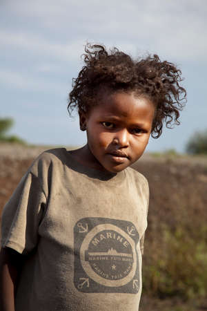 SOUTH OMO - ETHIOPIA - NOVEMBER 16, 2011: Portrait of the unidentified girl from Ethiopia, in November 16, 2011 in Omo Rift Valley, Ethiopia.