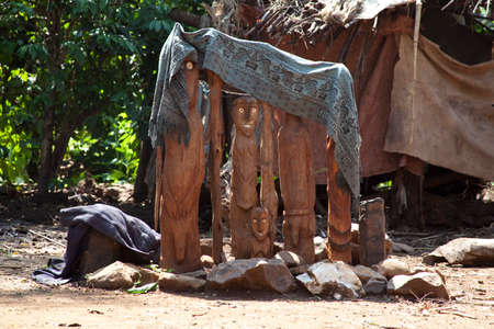 karat: Waga, carved wooden grave markers sometimes referred as totems. Karat Konso. Ethiopia.
