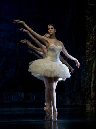 MADRID, SPAIN - JANUARY 25, 2011: Russian imperial ballets performance Swan Lake ballet at Teatro Compac Gran Via, January 25, 2011 in Madrid, Spain.