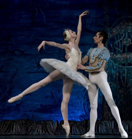 MADRID, SPAIN - JANUARY 25, 2011: Russian imperial ballets performance Swan Lake ballet at Teatro Compac Gran Via, January 25, 2011 in Madrid, Spain.