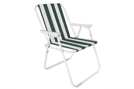 beach chair: Green and white striped beach chair isolated on white background Stock Photo