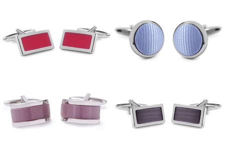 wrist cuffs: stainless steel cufflinks isolated on white background