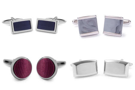 stainless steel cufflinks isolated on white background photo